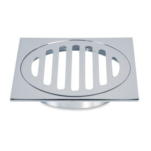 Grate Stubby 100mm Square Brass Slotted Chrome