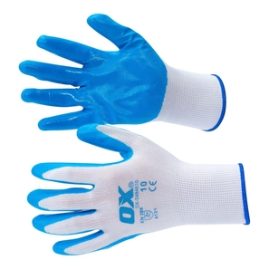 Ox Safety Polyester Lined Nitriles Glove 5 Pack Size Xl