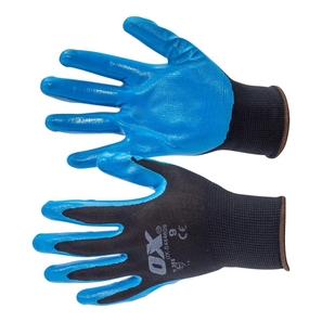 Ox Safety Polyester Lined Nitriles Glove 5 Pack Size L