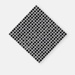 Black Glass And Stainless Steel Mix Mosaic Tile