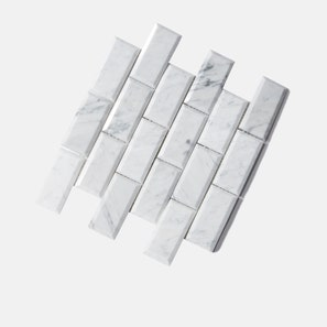 Carrara Marble White Bevelled Mosaic Tile