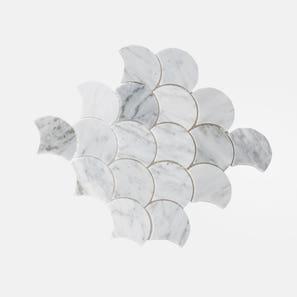 Carrara Marble Fan Mosaic Tile