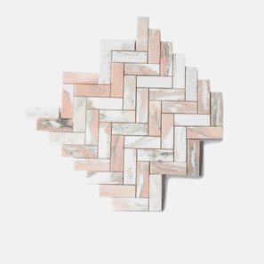 Blush Herringbone Honed Mosaic
